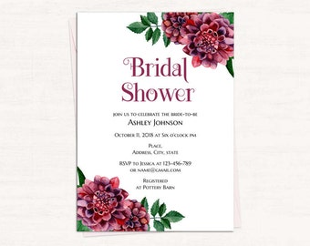 Burgundy bridal shower invitation template Dahlia wedding shower invitation printable Floral bridal shower invites diy Garden wedding 1W19