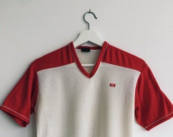 Vintage 70s cheeky baseball tshirt red and white size medium