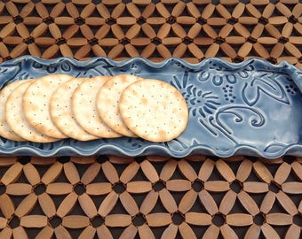 Blue Stoneware Cracker/Olive Serving Tray With Handles