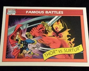 Thor vs Surtur #91 - 1990 Marvel Universe Series 1 Base Trading Card