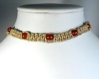 Handmade Flat Hemp Choker Necklace with Carnelian Agate Stone Beads