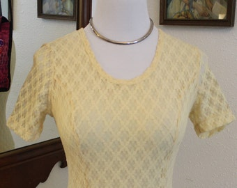"""80's Vintage Yellow Summer Dress by """"Fredrick's of Hollywood"""" *FREE SHIPPING*"""