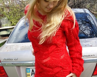 red sweater dress, women's knit dress, long sweater