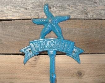 Starfish Hook, Starfish Welcome Sign, Cast Iron Starfish Hook, Welcome Sign, Nautical Hook, Beach Hook,