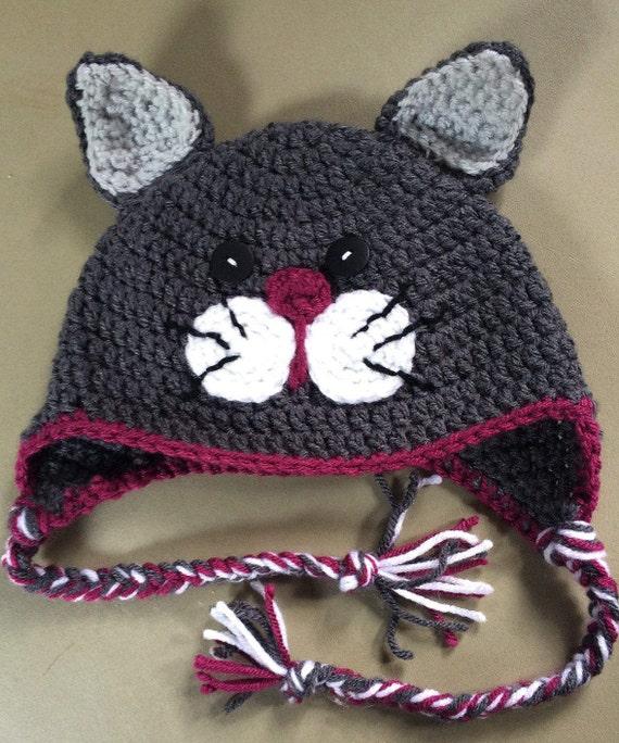Crochet Cat Hat Child HatCat HatGrey Crochet HatWinter