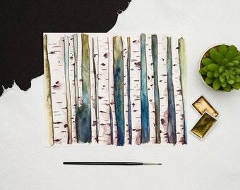 Watercolor birch trees, Birch tree painting, Forrest art, Birch trees wall art, Birch trees print, Tree trunk decor, Birch tree art print