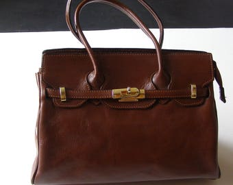 Bag/purse leather Kelly bag vintage 80s style brown/bag s / chic style bag