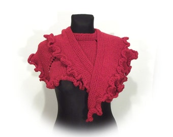 SCARF red cape with frill ideal gift
