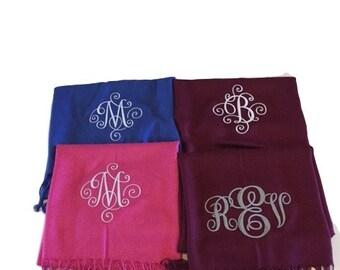 Pashminas,Bridal pashmina,Monogrammed EMBROIDERED Pashmina wrap,Embroidered Pashmina,Wedding Party Shawl,Bridesmaid gifts,personalized scarf