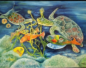 Sea turtles, fish, acrylic painting, original, sea, Ocean, surreal image, gift, painting, acrylic