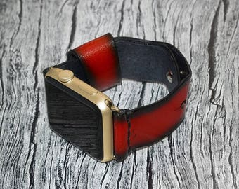 Apple watch band leather // Red leather apple watch accessories 38mm / 42mm - apple watch strap leather - lugs adapter - iwatch band women
