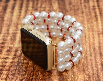 Ivory Fake Pearl apple watch band 42mm / 38mm // apple watch strap - iwatch band accessories - iwatch strap adapter - no-clasp - stretch fit