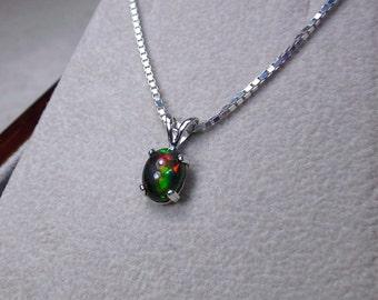 Black Opal Pendant, Black Opal Necklace, Opal Jewelry, Genuine Opal Pendant, October Birthstone, Simple Necklace, Silver Opal Necklace