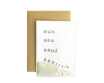 Ansichtkaart/Postcard I Sun sea sand Sshhh
