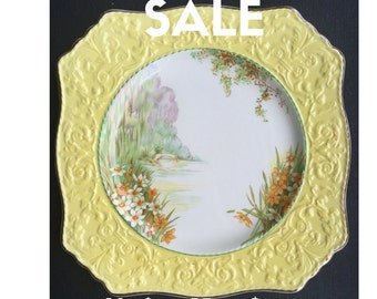 ON SALE! Royal Winton Grimwades Hand Painted Vintage Plate, Daffodil, Narcissus Flowers Yellow Plate, English Floral China