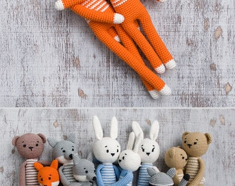 Crochet Fox Toy Woodland animal Soft cotton toy for kids Plush stuffed animal Baby gift Newborn gift Birthday gift Amigurumi Mama baby toys
