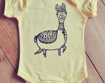 Alpaca bodysuit, Yellow onepiece, Baby shower gift, Unisex baby gift, Bohemian baby onepiece, Baby yoga outfit, Hipster baby, Gypsy baby