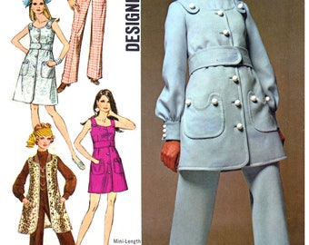 60s Simplicity 8280 Mod Dress or Jumper in Two Lengths and Jumpsuit, Uncut, Factory Folded, Vintage Sewing Pattern Size 12 Bust 34