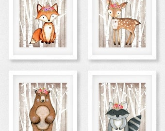 Woodland animals set of four, Fox picture, Woodland theme decor, curious, clever, Nursery decor, Baby shower gift, Kids Wall Art, Little