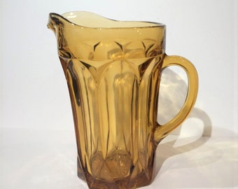 Anchor Hocking Fairfield Amber Glass Pitcher, Yellow Glass Pitcher