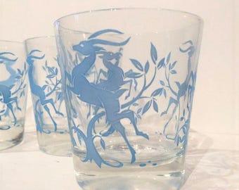 Blue Gazelle Tumblers, Set of 4 Mid Century Low Ball Glasses, Vintage Barware, Retro Drinking Glasses Blue Hazel Atlas Gazelle Tumblers