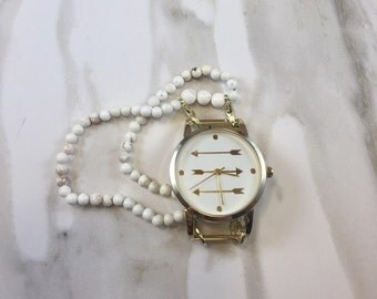Gold Arrow Watch - White and Gold Watch Face with Beaded Howlite Watch Band -  Interchangeable - Beaded Watch