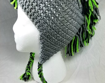 Child size Crochet Winter Hat, Crochet Mohawk Hat, Lime Green and Gray Hat, Toddler/Child Crochet Boy Hat, Beanie Cap, Photo Prop