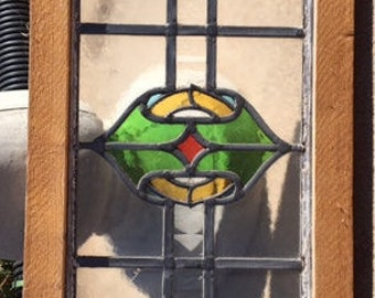 Antique Leaded Stained Glass Window Pane Vintage