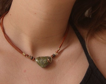 New! Forest Unakite necklace