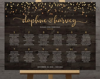 Gold confetti wedding seating chart, guest list table assignment display poster, large reception printable sign rustic weddings, DIGITAL PDF