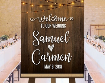 Welcome to our wedding sign, indoor string lights, wedding outdoor signs, barn wedding decorations, rustic wedding reception signs, DIGITAL