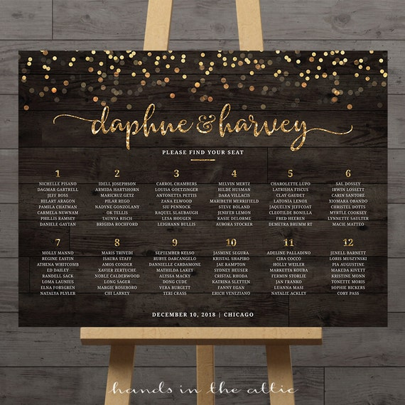 Gold confetti wedding seating chart, guest list table ...