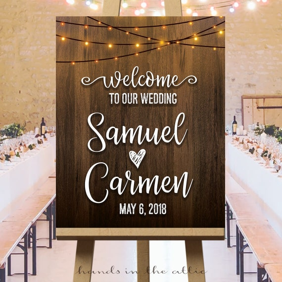 Welcome to our wedding sign indoor string lights wedding like this item junglespirit Gallery