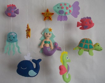 Baby crib Sea mobile,Sea Animals and fish mobile,Mermaid mobile,marine animals mobile,nursery mobile,baby kit mobile,custom mobile