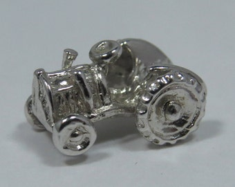 Farm Tractor Sterling Silver Charm for Bracelet or Pendant