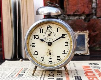 Kienzle Clock - German Clock - Table Clock - Antique Clock - Vintage Alarm Clock - Desk Clock - Industrial Style Clock - Rustic Clock