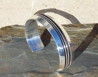 Tom Hawk ~ Navajo Sterling Silver Deep Lined Cuff Bracelet - 40 Grams