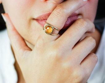 Citrine Gold Ring, Citrine Double Band Ring, 14K Solid Gold Ring, Natural Gemstone Ring, Gold Ring for Women, November Birthstone, GR0232