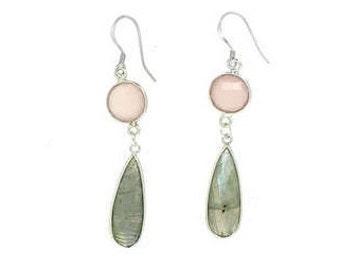 Earrings labradorite and rose quartz