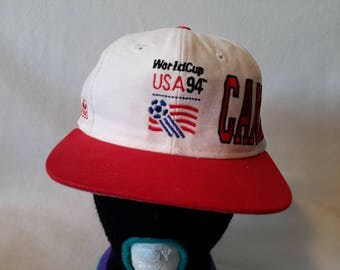 Vtg Canada 1994 World Cup Soccer Snapback hat Apex One cap Football Futbol Fifa
