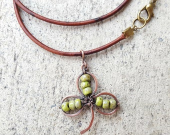 Shamrock pendant leather cord choker, clover choker, St. Patrick's Day necklace, beaded wire wrapped copper pendant, copper pendant necklace