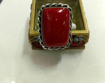 Red Coral Ring, Size 8