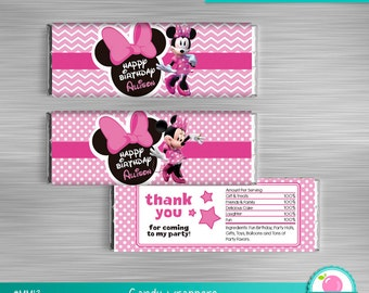 Minnie Mouse Candy Bar Wrapper Print Yourself, Minnie Mouse Printables, Minnie Mouse Birthday DIY