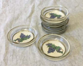 Vintage Glass Coasters with Grapevine Center and Felt Base, Set of 6