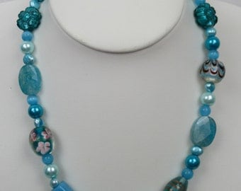 Turquoise Chunky Glass Bead Necklace