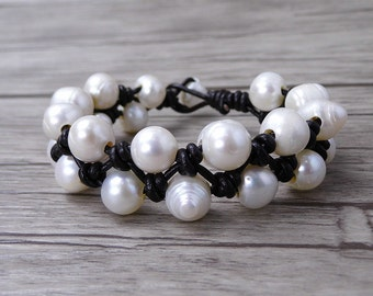 Large pearl bracelet boho pearl bracelet white pearl wrap bracelet Real pearl bracelet Single Leather wrap bracelet pearl jewelry SL-0502