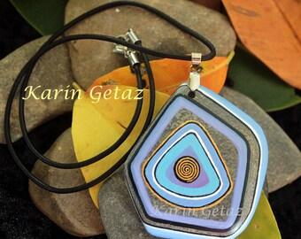 unique necklace, painted stone, boho necklace, unique jewelry, blue stone necklace, earth gems, stone necklace, zen necklace, unique design