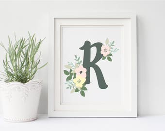 Monogram Letter Print, Flower Monogram, Floral Monogram Print, Floral Monogram, Monogram Art Print, Printable Monogram, Nursery Art Print