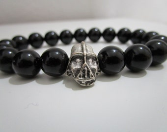 Onyx, Onyx bracelet semi-precious stones, Darth Vader bracelet, bracelet man, gift man, Star wars bracelet, Bracelet Onyx