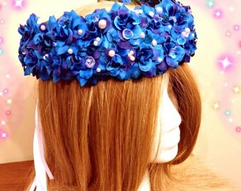 Mermaid Headdress, Blue Flower Crown, Festival Hairpiece, Hair Wreath, Fairy Costume, Woodland Nymph, Head Band, Renaissance Halo